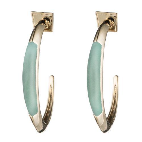 Alexis Bittar Green Opalescent Crescent Hoop Earring