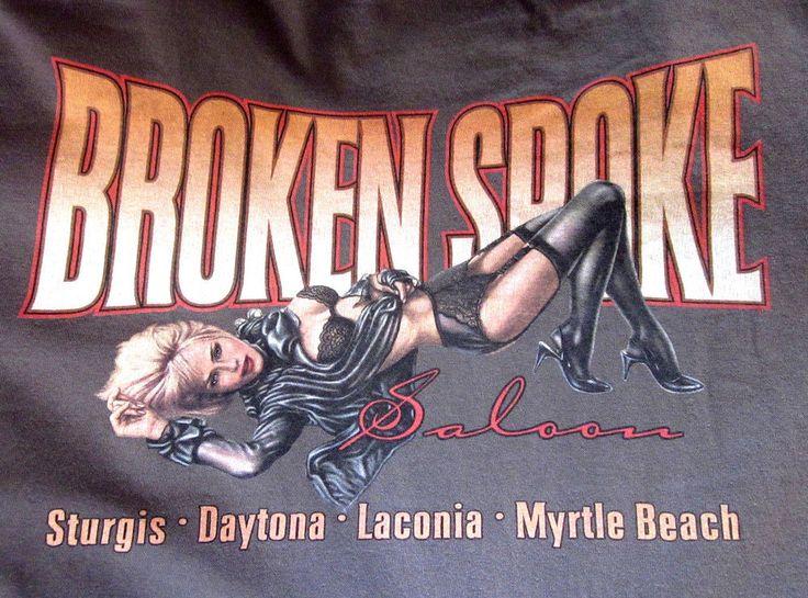 Anvil BROKEN SPOKE SALOON Graphic Sturgis Motorcycle Brown T-Shirt XL XLarge #Anvil #GraphicTee