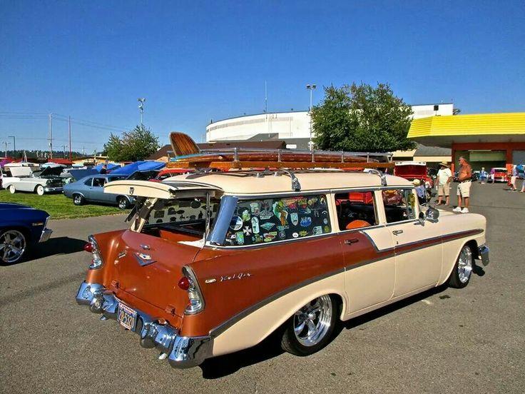 1956 chevy 4 door wagon bowtie pinterest chevy for 1956 chevy wagon 4 door