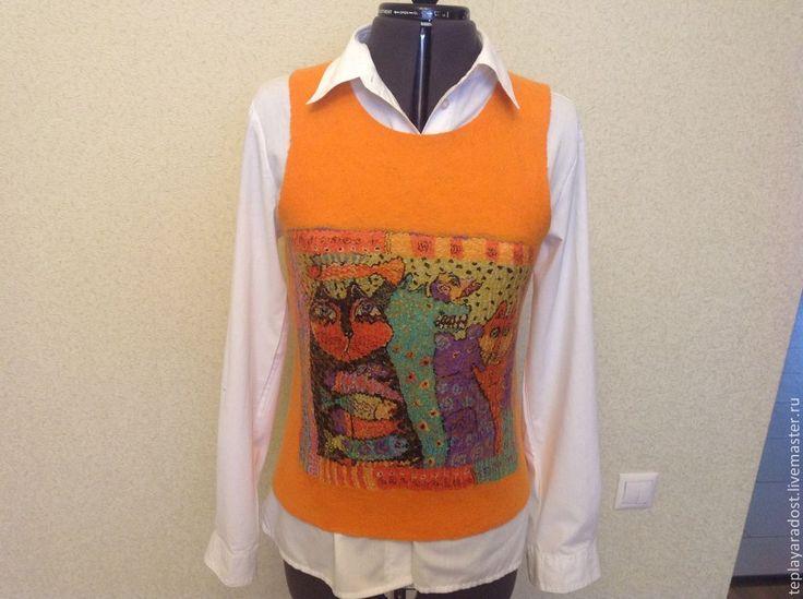 """Купить Жилет """"Orange cats"""" - оранжевый, валяный жилет, женская одежда, ручная авторская работа"""