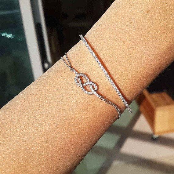 Infinity Knot Diamond Bracelet Gold & by SillyShinyDiamonds