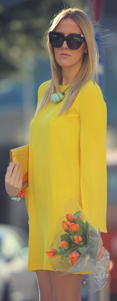 Happy Spring! Yellow Dress Outfit