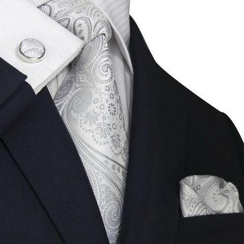 Cravate Garçons - Base Grise, Paisley En Rose Foncé Et Blanc Encoche