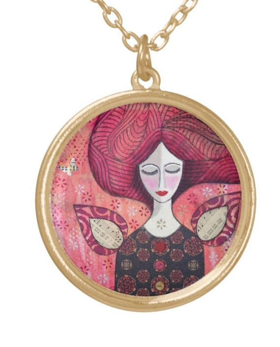 NECKLACE gold plated: 'Dream'  mixed media by MrsButtonsEmporium