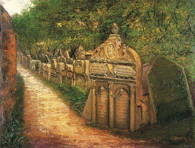 Jan Minařík: Náhrobek rabiho Löwa na Starém židovském hřbitově v Praze, 1899. Olej na plátně. Židovské muzeum v Praze