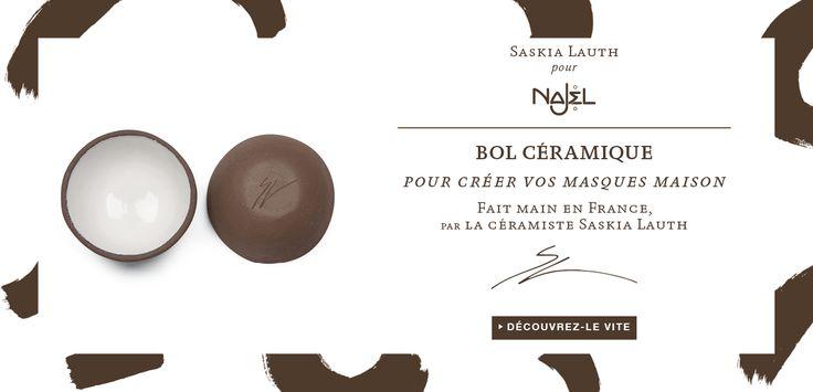 Pour Noël, offrez un objet unique !  Découvrez le bol en céramique fait main et créé tout spécialement pour Najel par la céramiste Saskia Lauth.  Accessoire indispensable pour réaliser vos masques maisons !