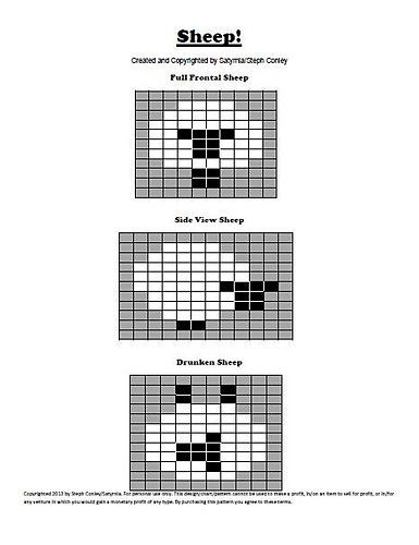 """Ravelry: Sheep! Intarsia Charts pattern by Steph Conley....love the bottom one """" The drunken sheep"""""""