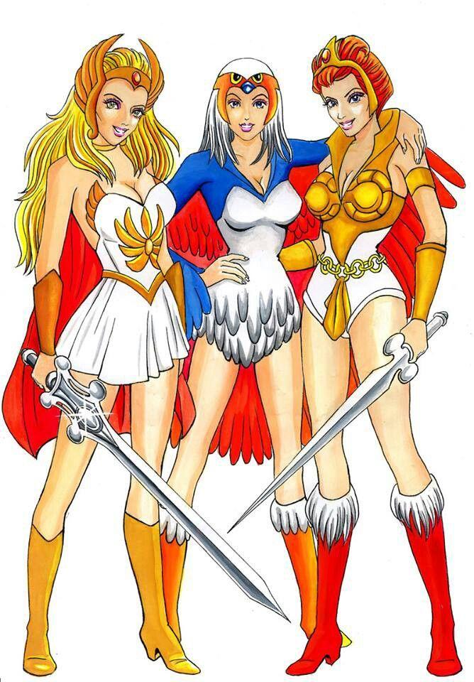 She-Ra, Princess of Power; The Sorceress, guardian of Castle Grayskull; Teela, Captain of the Guard