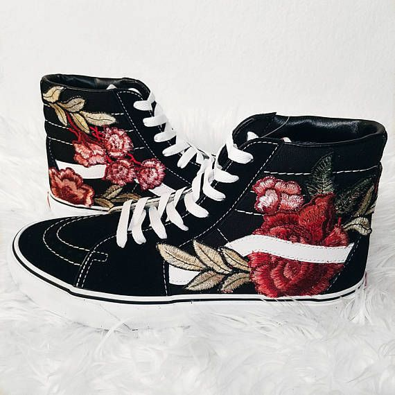 Custom Rose Floral Embroidered Vans Sk8-HI I got a lot of great feedback after posting my personal pair on instagram, so I decided to offer these out! Mens and Womens Size Available (Please choose your size carefully - listing is in US sizing.) They are genuine Vans Sneakers that
