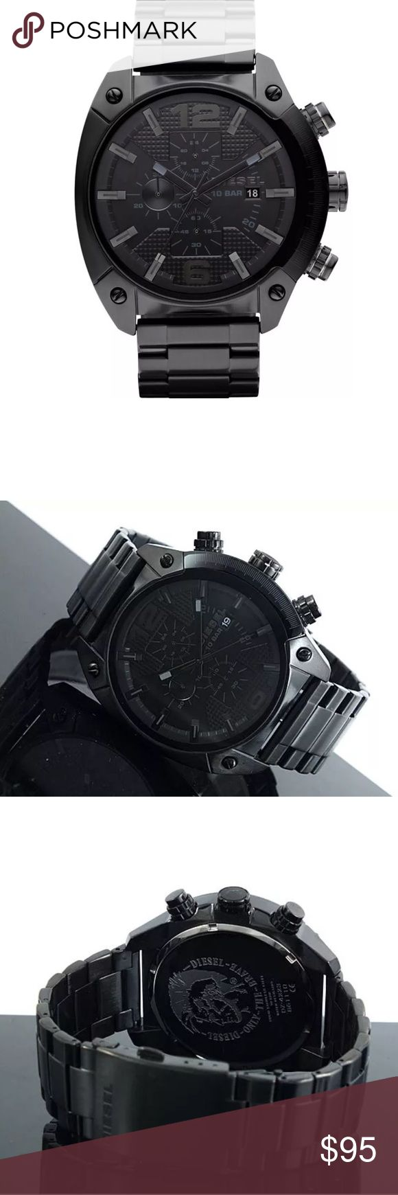 ‼️ SALE DIESEL Men's chronograph watch Brand new and authentic DIESEL overflow large watch  Model # DZ4223 Dial window -  Mineral Case material  -  Black Stainless steel  Case diameter - Approximately 49 mm.(not including Crown) Band material -  Stainless Steel Band width - Approximately 24 mm. Dial color - Black Crown - Stainless steel  Movement - Quartz Water resistant 10 Bar  Great gift for anyone. Diesel engraved. Comes with box Diesel Accessories Watches