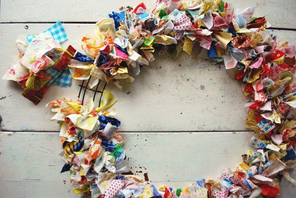 Scrap Fabric Wreath DIY