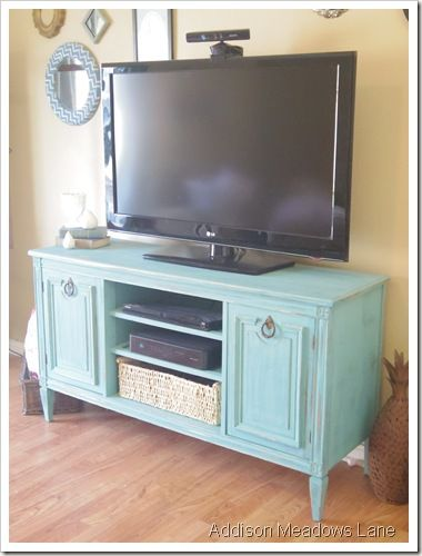 buffet repurposed into a TV stand