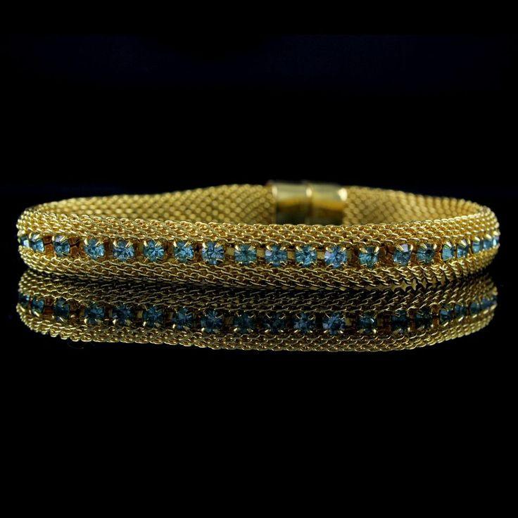 "Joan Rivers Yellow Gold GP Mesh Simulated Aquamarine Crystal 7.5"" Bracelet Y030 #JoanRivers #Mesh"