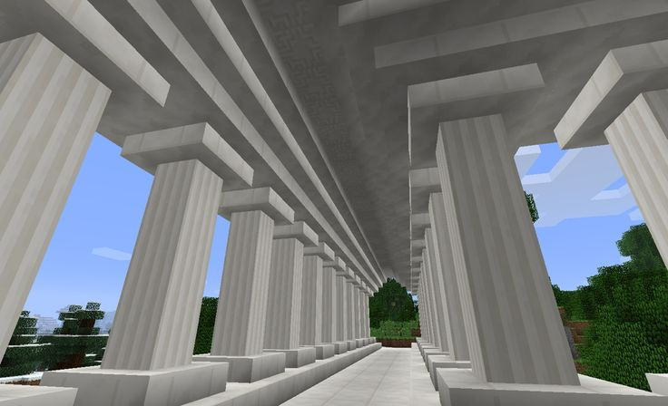 Minecraft walkway with Quartz pillars