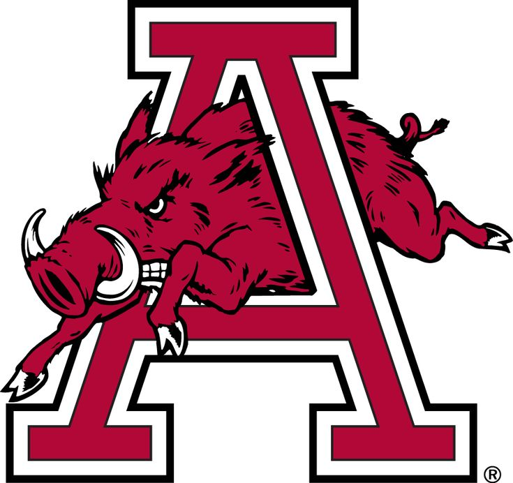 Arkansas Razorbacks Secondary Logo (1974) - A hog running through an A