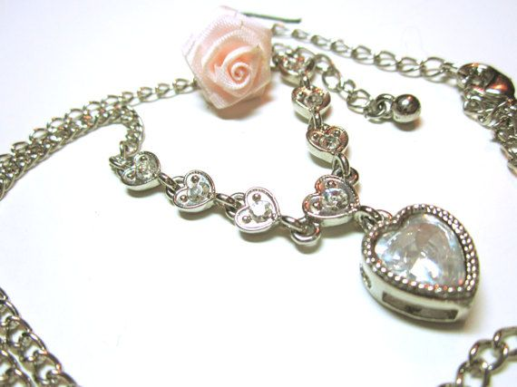 Heart Necklace  Re purposed Jewellery Silver by AllYouNeedIsBeads