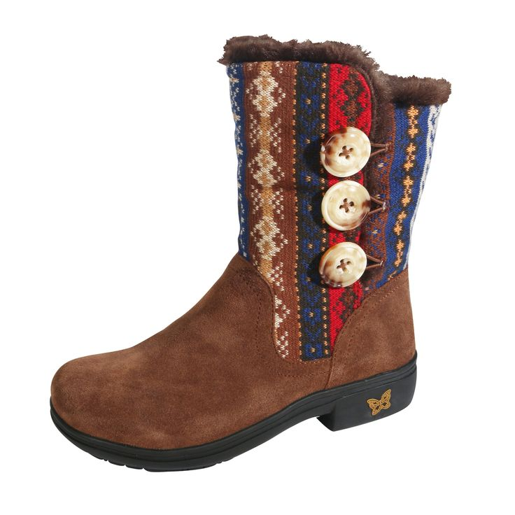 Alegria Nanook Cozy Choco Boot Tall boot featuring a soft suede leather  contrasted with cozy knit material and faux fur lined for warmth and  comfort.