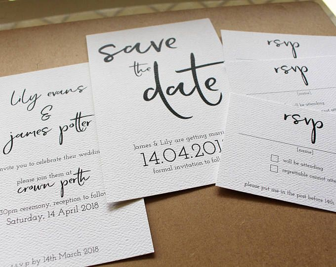 Wedding Invitation Package - Clean and simple black and white typographic wedding invitation, save the date, rsvp card luxury quality print