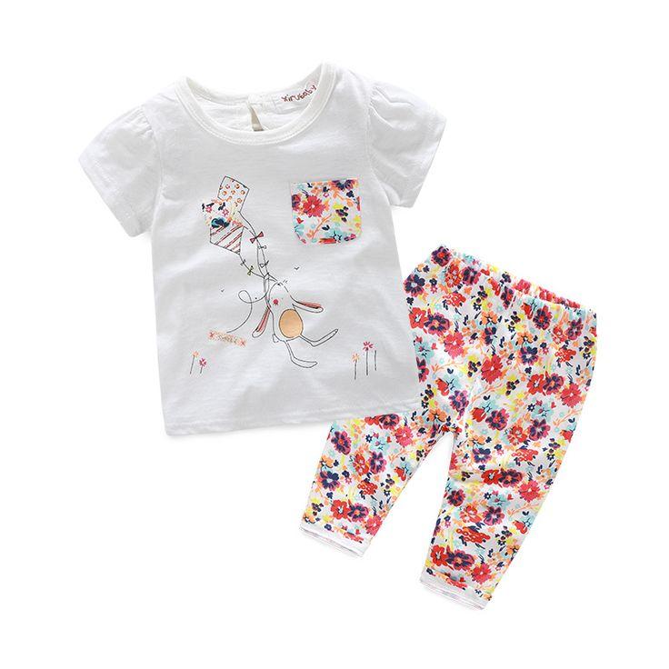 Розничная 2016 bay девушки одежда девочек летом костюмы О-Образным Вырезом печати Пуловеры наряды шорты и цветочные брюки Повседневный Стиль