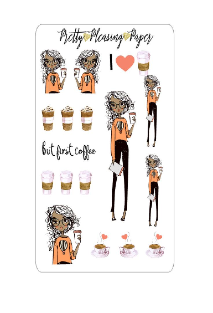 African American Coffee Girl Sticker Sheet for Planners and Scrapbooks by PrettyPleasingPaper on Etsy https://www.etsy.com/listing/385183970/african-american-coffee-girl-sticker