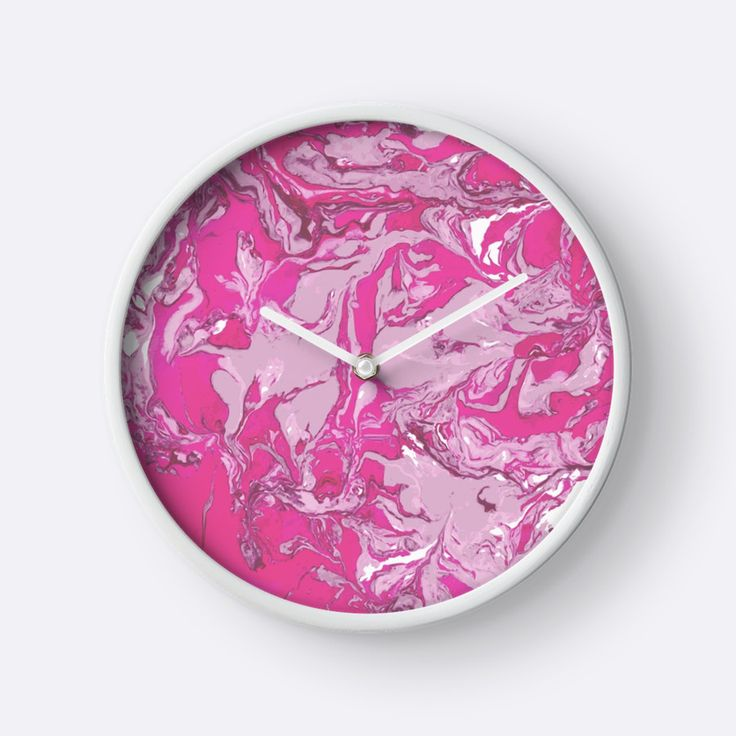 """Pink and white marble texture."" Clocks by kakapostudio 