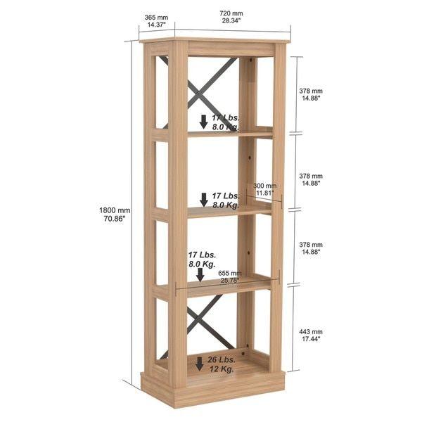 Inval Modern Open Back Transitional Bookcase