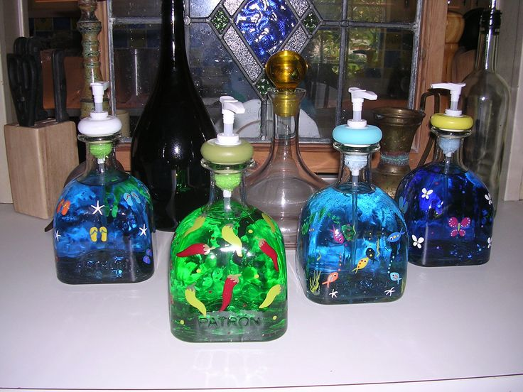 Recycled handpainted glass bottle art Patron tequila  lotion soap dispenser. $35.00, via Etsy.