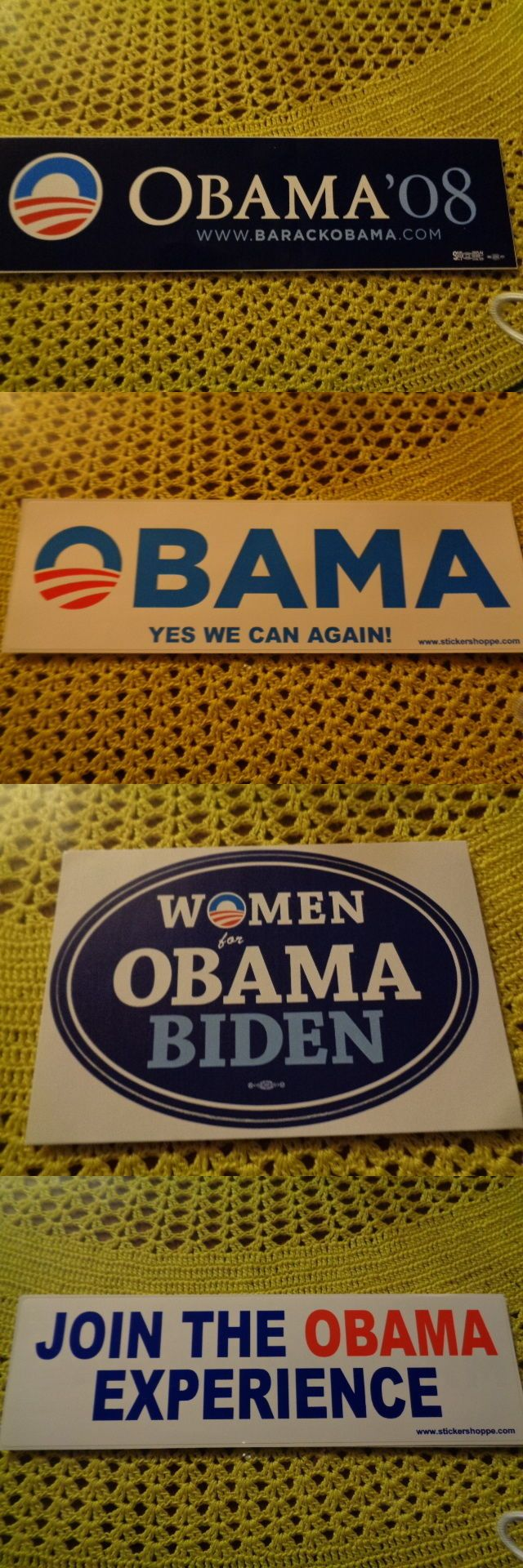 Barack Obama: Barack Obama Bumper Sticker 12 Different Ones To Chose From Election Campaign BUY IT NOW ONLY: $3.99