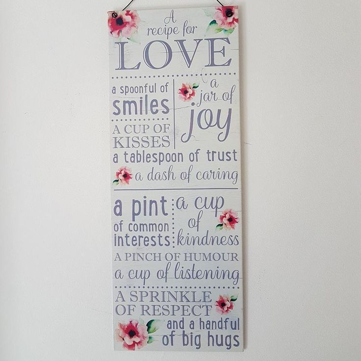 A RECIPE FOR LOVE FLORAL CHIC N SHABBY METAL WALL SIGN CARING TRUST SMILES