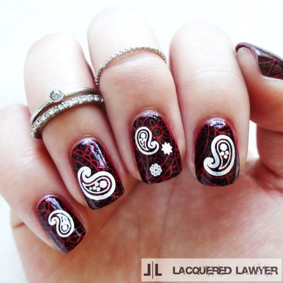 Paisley stamped nails with paisley decals from DIY Nails (sidenote...these decals also double as temporary tattoos!).