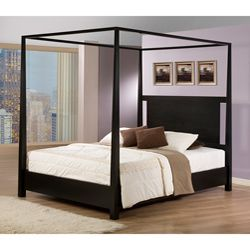 @Overstock - This solid hardwood queen size canopy bed would bring a huge splash of hotel luxury straight into your home. Its tall, elegant, tapered posts and open top oozes sophistication and the cut out headboard adds a modern appeal to this classic piece. http://www.overstock.com/Home-Garden/Napa-Queen-size-Black-Canopy-Bed/5749895/product.html?CID=214117 $569.99