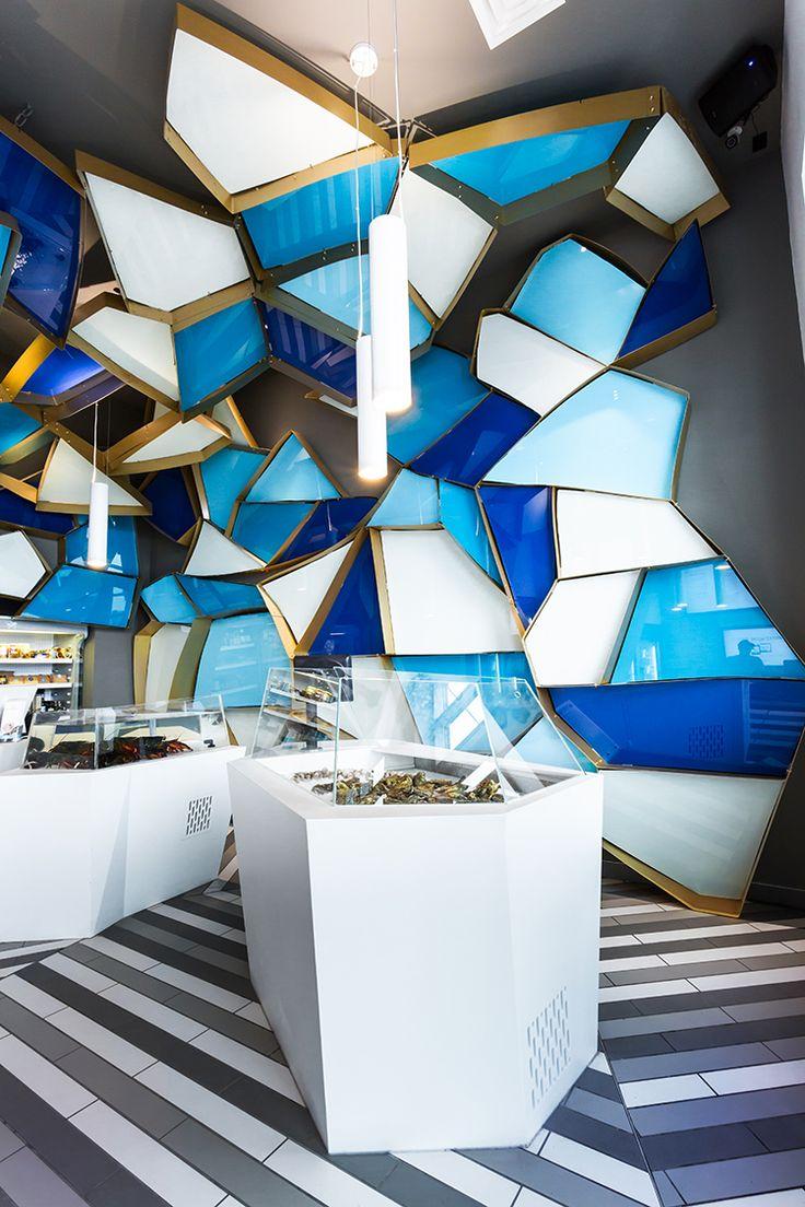 NÉMEAU FISHMONGER BY JEAN DE LESSARD, MONTRÉAL  A Fishmonger!  Wow - what a funky fish shop...