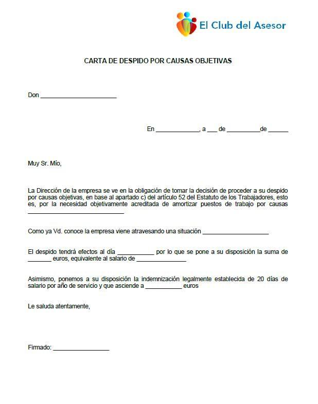 Carta de despido por causas objetivas