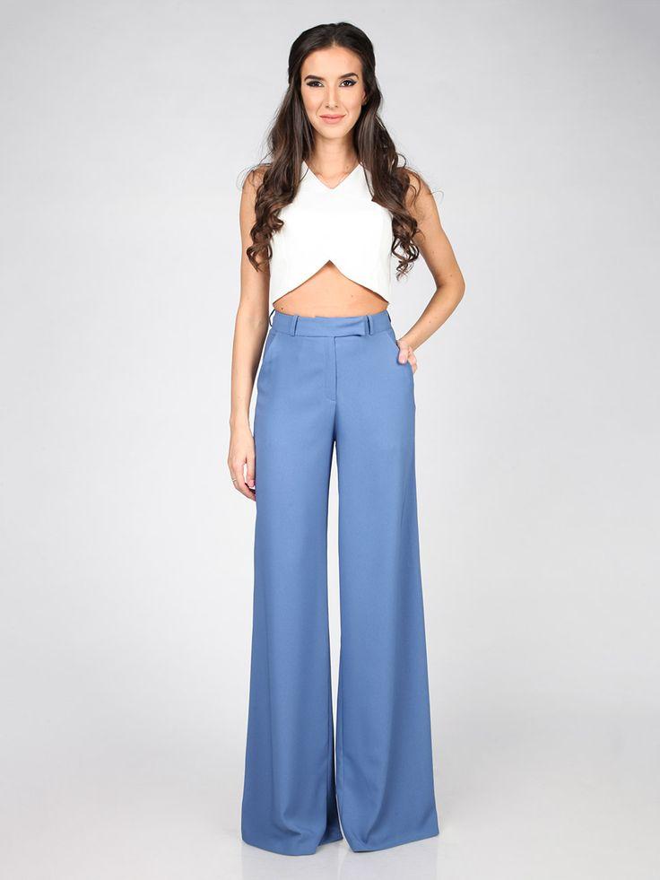Dámske Nohavice CARLA BY ROZARANCIO #Dámske_Nohavice #pants #trousers #blue_fashion #elegant_pants #fashion_outfit