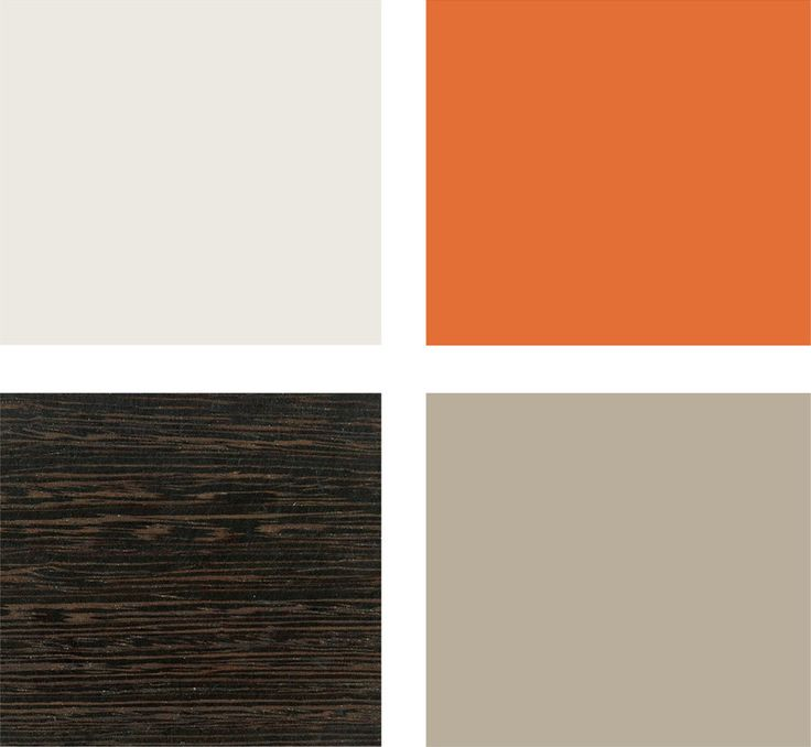 Love this color pallet for paint...Taupe walls, orange accent wall and off white trim with dark wood finishings.