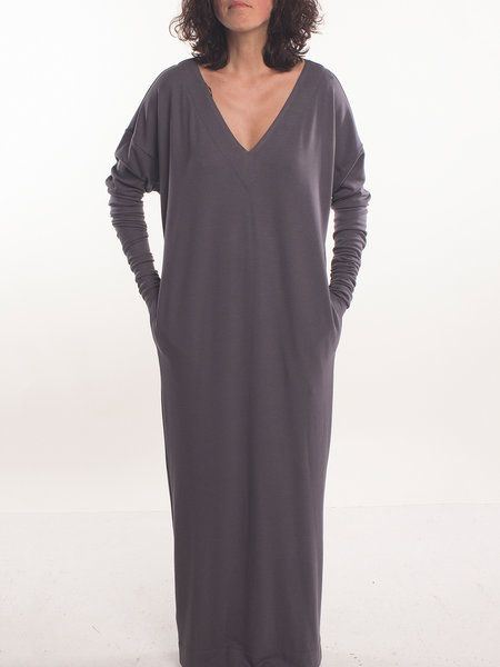 Shop Maxi Dresses - Deep Gray V Neck Casual Maxi Dress online. Discover unique designers fashion at StyleWe.com.
