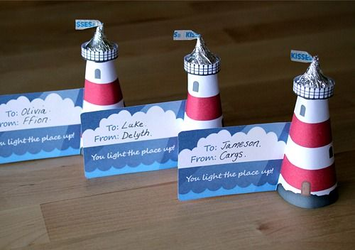 DIY Mini Lighthouses with Hershey Kisses as Placecards & Favors that your guests can take home: http://www.completely-coastal.com/2016/05/diy-lighthouses-how-to-make-lighthouse-cardboard-plastic-bottle-etc.html
