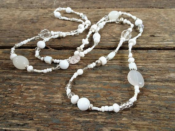 White necklace beaded necklace long beaded necklace gift