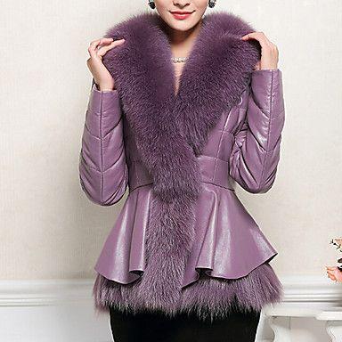 NYO Women's Long Sleeve Slim Fashion Fur Collar Temperament Overcoat - CAD $ 71.01