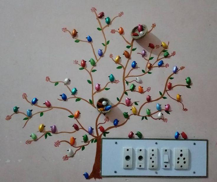 κελύφη από φιστίκια, ιδέες διακόσμησης, ζωγραφική τοίχου, DIY διακόσμηση