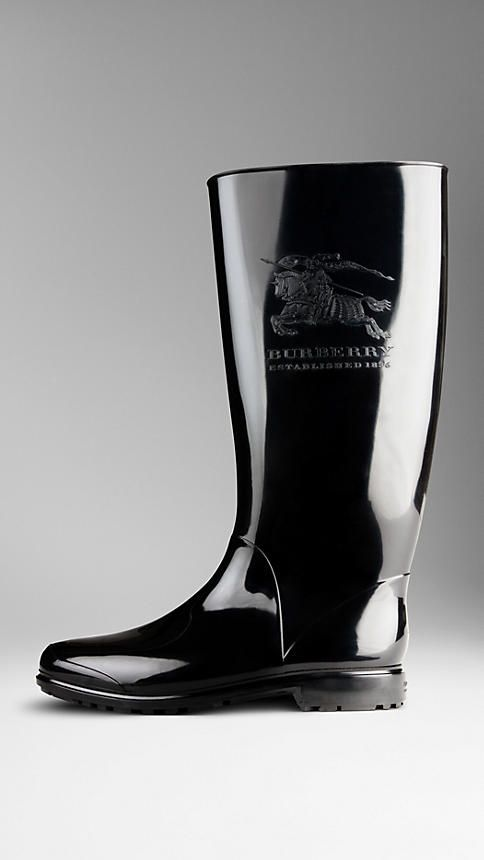 Rain boots with printed Equestrian Knight | Burberry