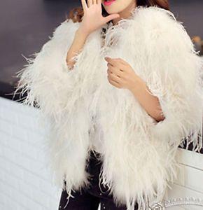 Blush pink white real hairy Ostrich Feather furry Fur coat jacket bolero bridal