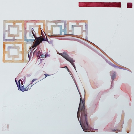 Artwork by Anne Smerdon El Batahl - 2013 Watercolour on pin pricked paper - framed 55 x 55 cm