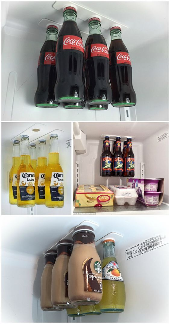 GENIUS! Fridge magnets (bottle loft) allows you to free up space and make your refrigerator the coolest one around by hanging your bottles inside it. Click for some more organization tips! #BigChill
