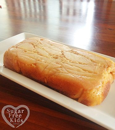 Sugar Free Caramelised Pear cake recipe - Sugar Free Kids