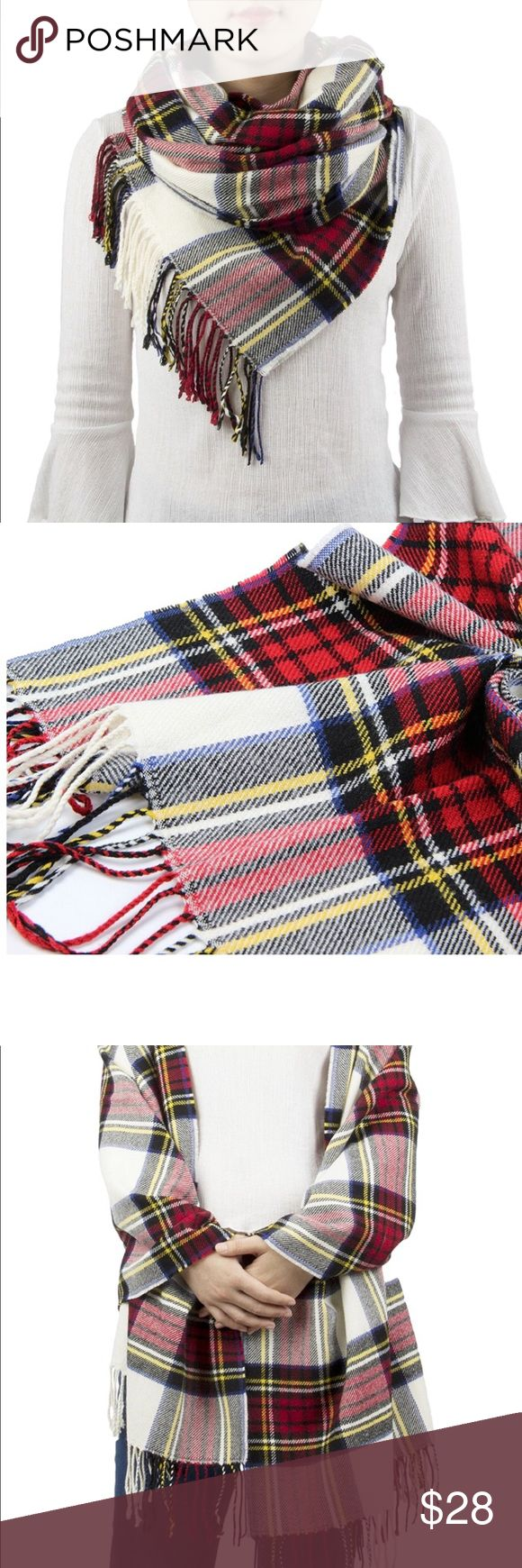 Classic Red and White Tartan Plaid Blanket Scarf Soft, luxurious, and on trend for fall, this cozy blanket scarf can be draped multiple ways to keep you protected from the cold and great.  Winter is coming, gals! Lalea Accessories Scarves & Wraps