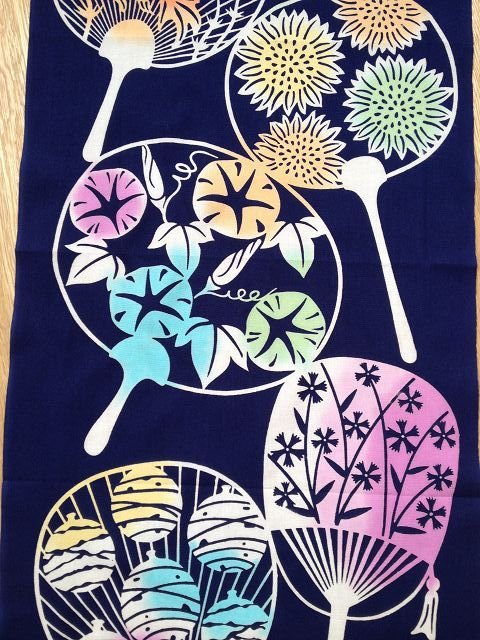 """Japanese """"Fan"""" - Tenugui approx. 30 x 90 cm - Lovely decoration, table runner or other sewing Projects. Available at www.karlottapink.com - The online fabric shop for Special and exotic fabrics from around the world"""