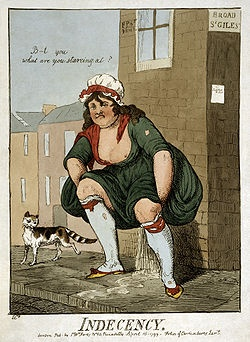 """""""Indecency"""", a caricature by Isaac Cruikshank. Published in London by S.W. Fores, 1799."""