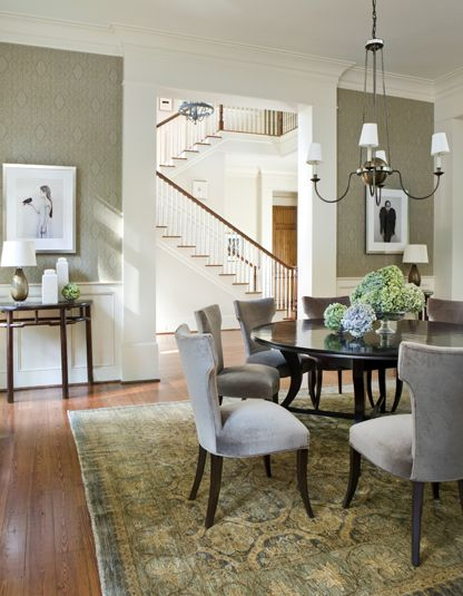 formal but inviting dining roomBathroom Design, Wall Colors, Dining Rooms, Area Rugs, Grey Chairs, Phoebe Howard, Paint Colors, Round Tables, Dining Tables