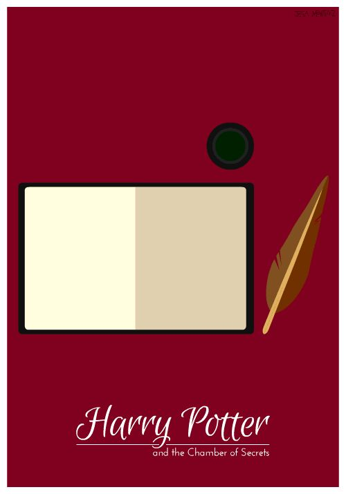 2. Harry Potter and the Chamber of Secrets   ---- All image credits: Jessica Martinez. Animated GIFs are not supported in some social networks. You may need to open them in the original post.  7 minimalist Harry Potter animated book covers